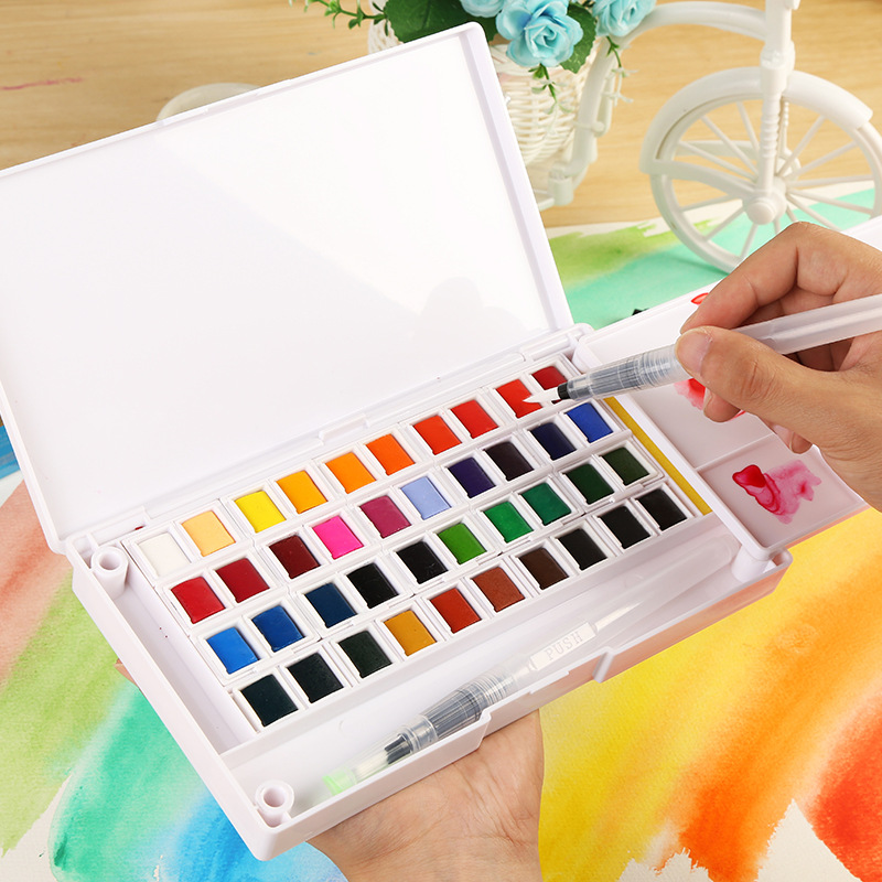 Professional Solid Watercolor Paint Box with Paint Brush Bright Color Portable Watercolor Pigment Set for Art Supplies