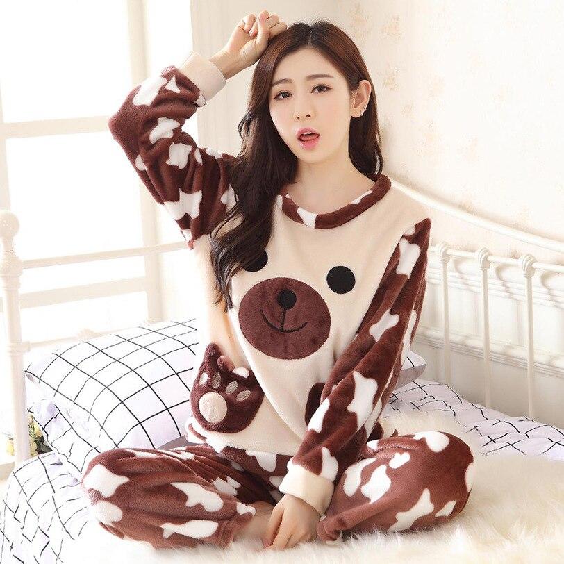 Autumn Winter Warm Female Flannel Sleepwear Suit Thicken Home Wear Long Sleeve   Pajama     Set   Cartoon Pyjamas Cute Nightwear