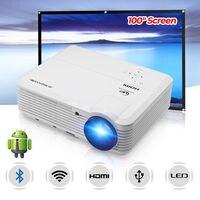 ЖК дисплей Smart HD проектор Wi Fi беспроводной Bluetooth Android домашний кинотеатр для вечерние семейной вечеринки HDMI HD USB с портативным экраном 100 дюйм