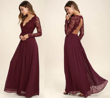 Burgundy Chiffon Bridesmaid Dresses Long Sleeves Summer Style V-Neck Backless Long Beach Lace Wedding Party Dresses burgundy crew neck drawstring waist long sleeves tracksuit