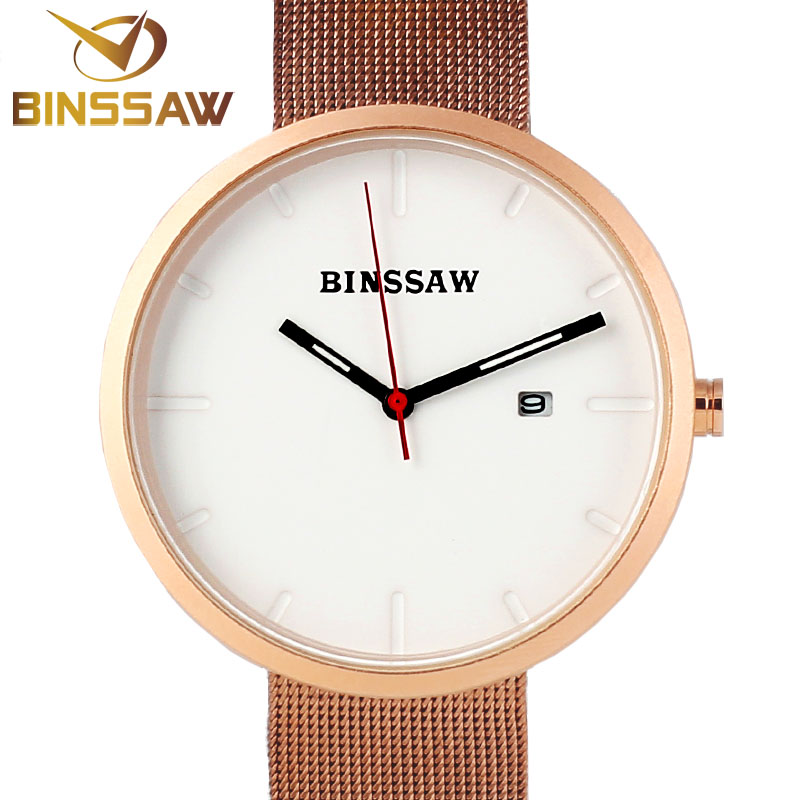 ФОТО BINSSAW New Men Watches Top Brand Luxury Waterproof Clock Steel Strap Casual Quartz Watch Wrist Sport Watch relogio masculino