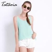Women Halter Top Chiffon Tanks Camis Tops Sleeveless Vest V Neck Blouse Summer Debardeur Femme Plus