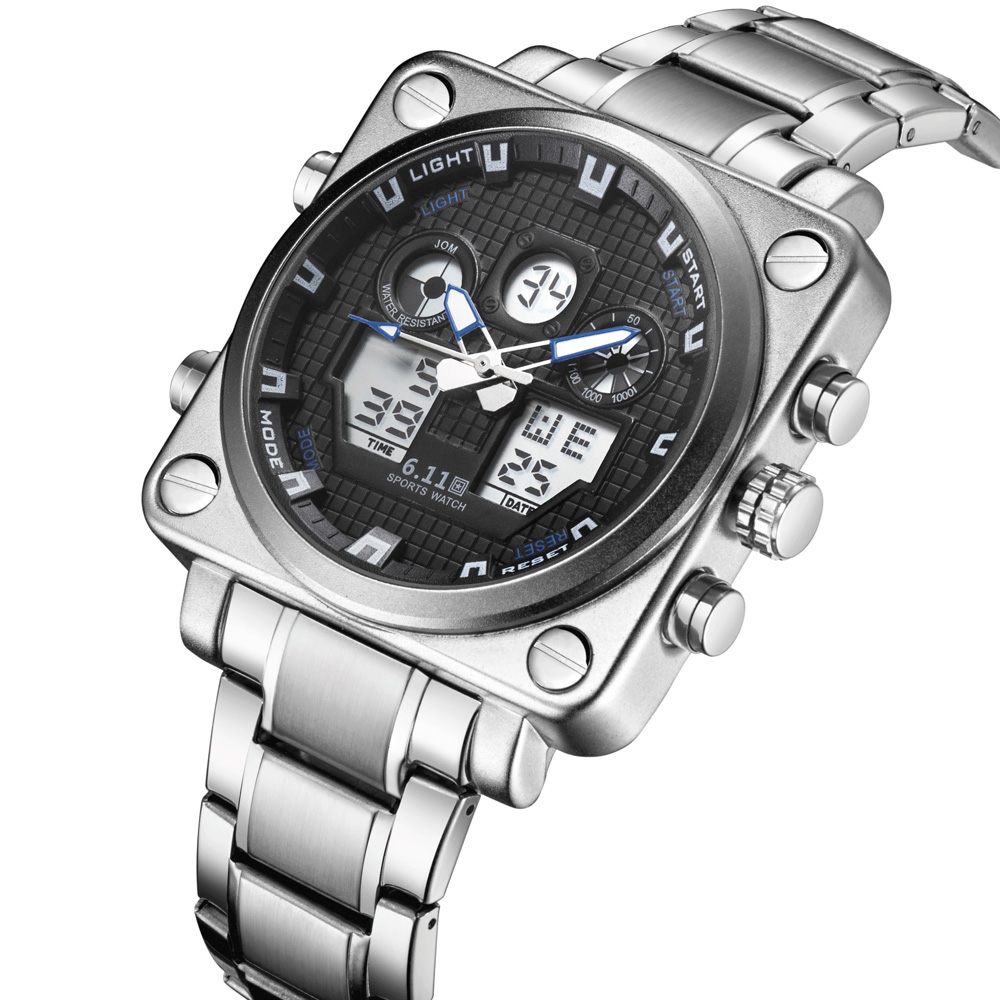 6.11 Business Watch Men Stainless Steel Waterproof Square Led Quartz Sport Watch Men Digital Clock Male horloges mannen relojes relojes full stainless steel men s sprot watch black and white face vx42 movement