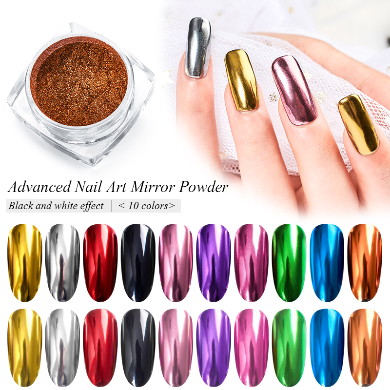 0 5g Nail Art Mirror Pigment Powder Nail Glitter Metallic Color Shining Chrome Powder Decoration UV Gel Polish Accessories in Nail Glitter from Beauty Health