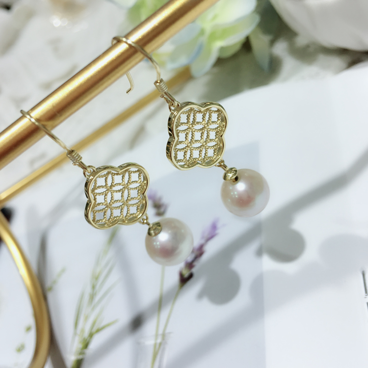AAAA Freshwater Cultured pearl Positive light white fresh water pearl earring earrings with round 925 silver female daimi 6 7mm perfectly round pearl earring long earrings design freshwater pearl 925 silver earring gift j