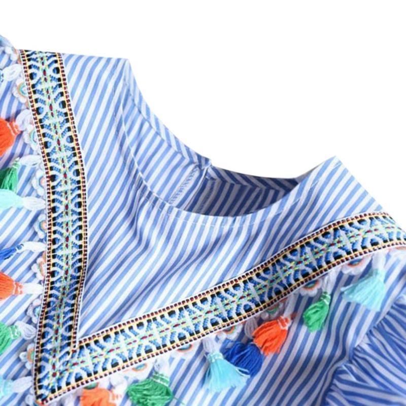 HTB1C6XBXRiE3KVjSZFMq6zQhVXaX Summer Girls Tassel Flying Sleeve Dresses Stripe Cute Kids Party for girls Princess Dress Tops Clothes