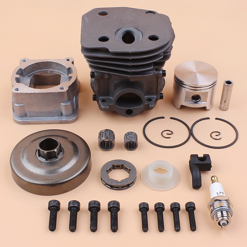 Engine Cylinder Piston Bottom Pan Clutch Drum Worm Gear Kit Fit Husqvarna 353 351 350 346 346XP 345 340 Chainsaw Motor Parts 44mm cylinder piston pan bearing gasket decompression valve kit for husqvarna 340 345 346 350 351 353 chainsaw engine motor part