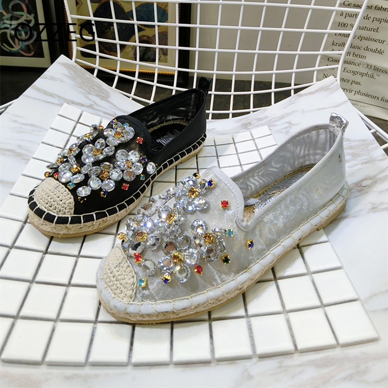 Kvinnor Casual Shoes Mode Rhinestone Women Shoes Mjuk Slip On Loafers - Damskor - Foto 1