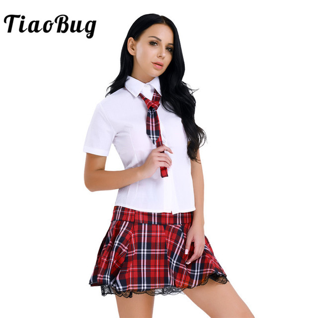 aa5402ab08 TiaoBug Women Lingerie Japanese School Girl Uniform Korea Shirt with Mini  Skirt Tie Women Sexy Cosplay