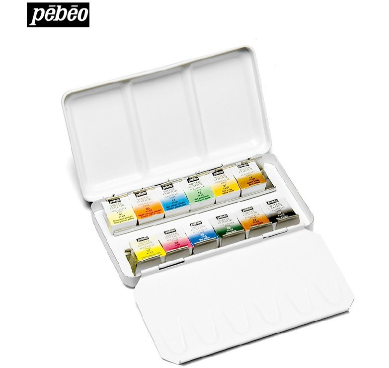 Pebeo Fine Watercolours Round Metal Box of 12 colors Pocket Set Water Color     - title=