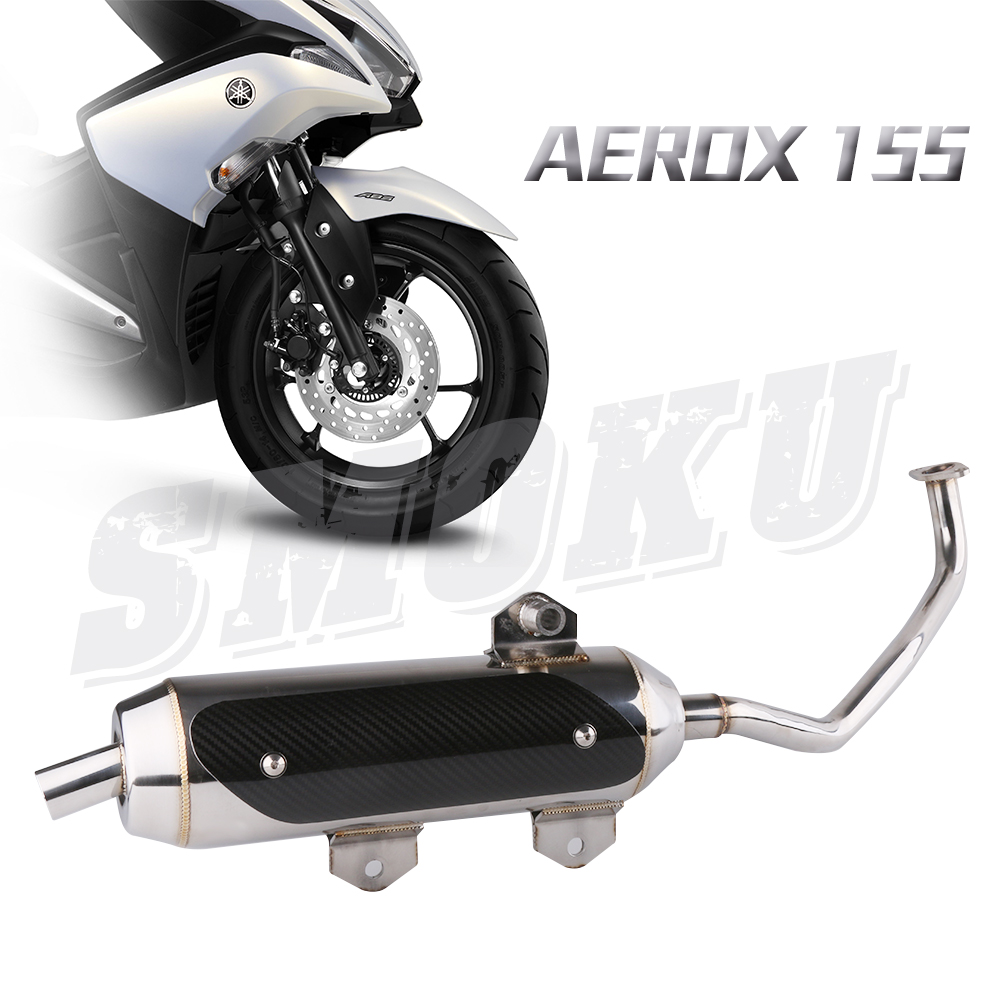 Motorcycle Scooter Stainless Steel Carbon Fiber Tip Muffler Exhaust Pipe For YAMAHA NVX155 Aerox155 motorcycle cnc aluminum rear muffler wheel slider crash protector pads for yamaha n max nmax155 n max 155 125 nvx155 aerox155