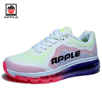 Apple Quality Breathable Mesh With Kpu Women Sneakers Air Sole Lace Up Contrast Color Game Female