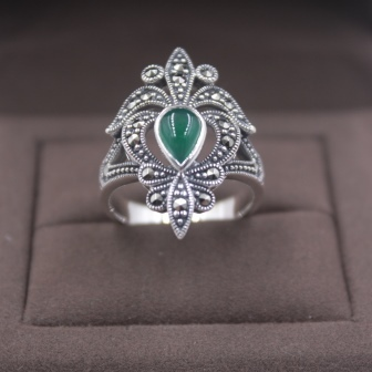 Pure S925 Silver &Green Chalcedony Ring Zircon Flower Beauty Women 's Ring New US 5-9 Elegant Fashion New Ring