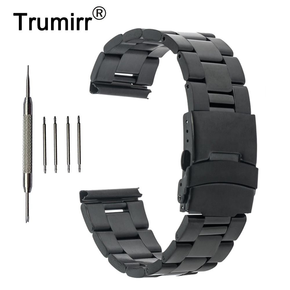 24mm Stainless Steel Watch Band for Suunto TRAVERSE Safety Buckle Strap Wrist Belt Bracelet Black Silver Gold + Spring Bar 24mm nylon watchband for suunto traverse watch band zulu strap fabric wrist belt bracelet black blue brown tool spring bars