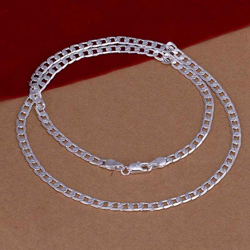 ขายส่ง fine 925 - sterling - silver สร้อยคอแฟชั่นเครื่องประดับ 4 มิลลิเมตรสร้อยคอและจี้ผู้หญิงผู้ชายคอปก SN132-22