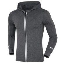Новинка, светоотражающая эластичная куртка на молнии для бега, мужская куртка с капюшоном для баскетбола, йоги, тренажерного зала, фитнеса, дышащее спортивное пальто, топы для мужчин