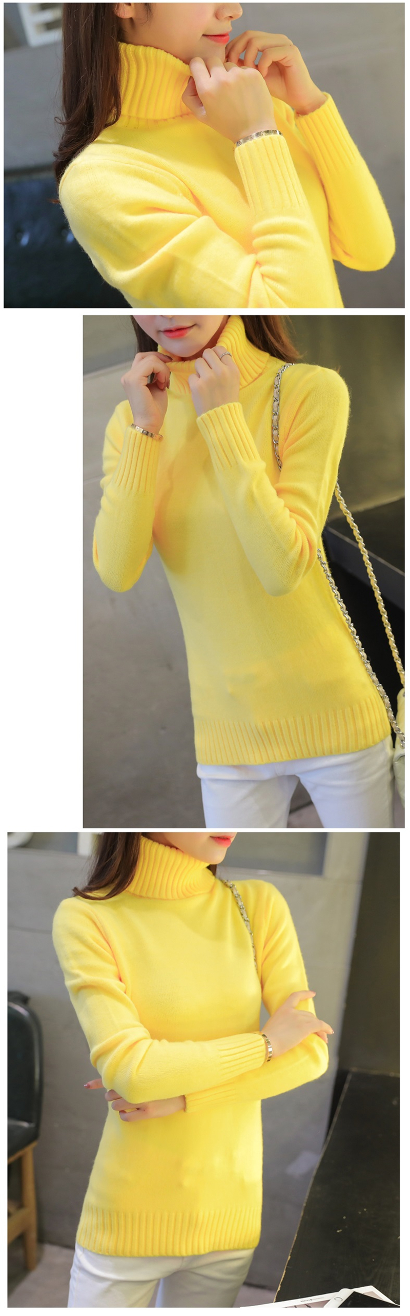 18 New Autumn winter Women Knitted Sweaters Pullovers Turtleneck Long Sleeve Solid Color Slim Elastic Short Sweater Women K861 10