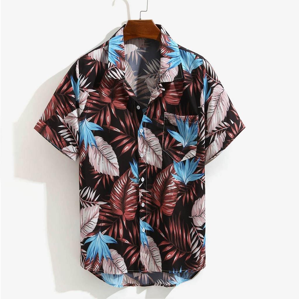 Hawaiian Printed Short Sleeve Men's Shirt Casual Shirt Men Summer Casual Loose Beachwear Buttons Male Blouse Tops Camisas Hombre