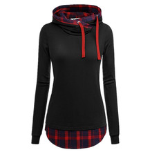 Womens Casual Hoodies Sweatshirts Plaid Long Sleeve Pullovers Sweatshirt Women