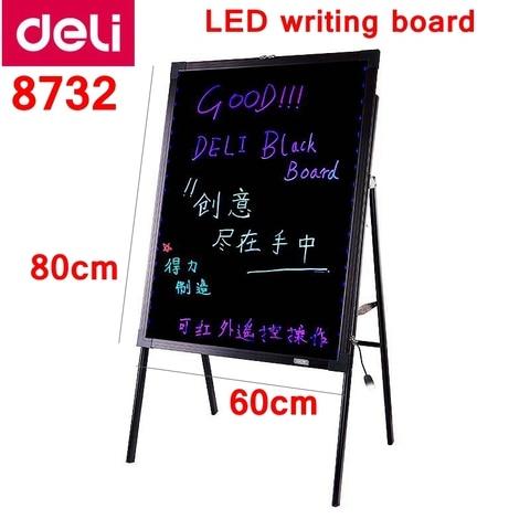 deli 8732 led placa de escrita 24x32 60x80 cm placa fluorescente eletronica com suporte 16