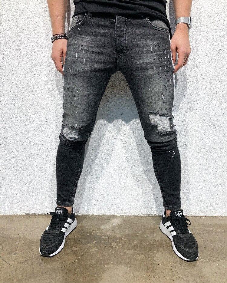 Fashion Men Jeans Hip Hop Cool Streetwear Biker White Striped Black Skinny Jeans Slim Fit Mens Clothes Pencil Jeans