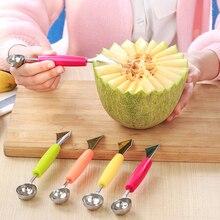 2 en 1 Bola de melón de acero inoxidable cuchillo de cocina para cortar sandía cuchara de doble cara para excavación de frutas cuchara para helado