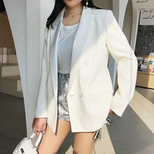 Womens jacket 2019 spring and autumn new temperament high quality white suit casual double-breasted
