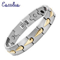 2015 Men 4in1 Magnet Negative Ions Germanium Far Infar Red 2 Tone 18K Gold Stainless Steel