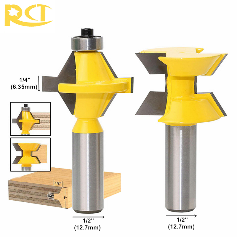 RCT 2pcs 120 Degree Lock Miter Finger Joint Router Bits Set 1/2'' Shank Milling Cutters For Wood Plywood MDF Woodworking Tools