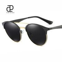 FEIDU Polarized Cat Eye Sunglasses Women Brand Design Alloy Frame Retro Mirror Lens Sunglasses For Men Oculos De Sol With Box