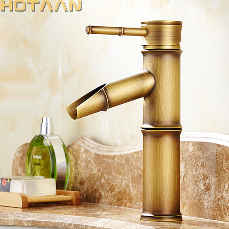 Basin Faucet Antique Brass Bamboo Shape Faucet Antique bronze Finish Copper Sink Faucet Single Handle Hot and Cold Water Tap free shipping bathroom faucet antique bronze finish brass basin sink faucet single handle mixer hot and cold lavatory water taps