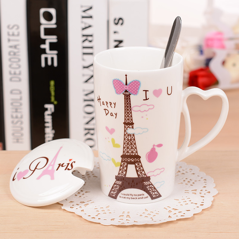 Eiffel Tower Pattern Ceramic Cup Office Creative Spoon With Lid Mug Coffee Milk Heart Shaped Handle In Mugs From Home Garden On