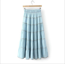 Spring And Summer Style Women s Denim Long Skirt Elastic High Waist Casual Maxi Skirt XY