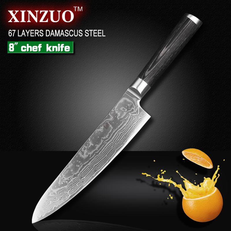 XINZUO 8 inch High quality chef font b knife b font China 67 layer Damascus stainless