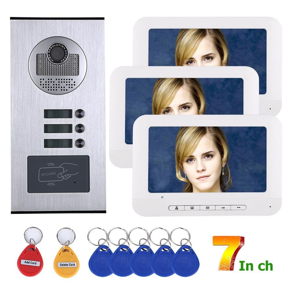 MAOTEWANG Video Intercom Systems 3 Apartments 7 Inch Video Door Phone System RFID IR-CUT HD 1000TVL Doorbell Camera