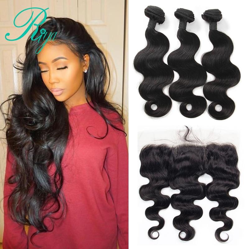 Riya Hair Peruvian Body Wave Weave Bundles Lace Frontal Closure With Bundles Remy Human Hair 3 Bundles With Frontal