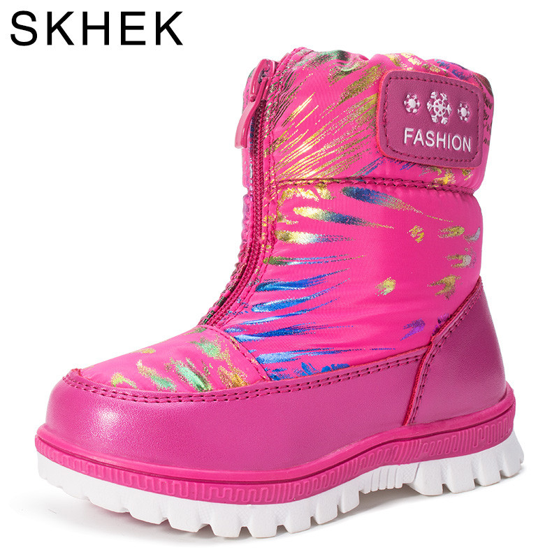 Image 2 - SKHEK Kids Girls Boots For Girl  Boys Winter Rubber Soft Wool Shoes Kid Ankle Snow Boot Leather Children Black Blue F17310-in Boots from Mother & Kids