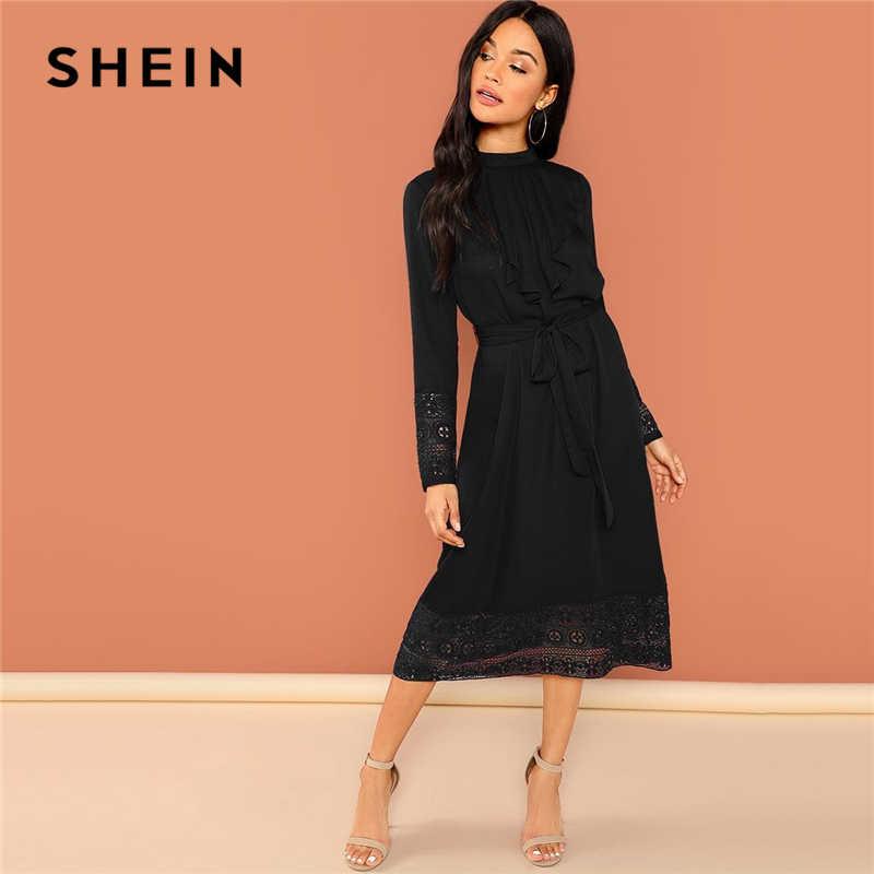 SHEIN Black Elegant Pleated Ruffle Trim Contrast Lace Stand Collar Trim  Dress 2018 Autumn Modern Lady 6856158b3804