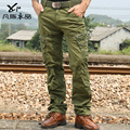 Продвижение Военной мужская мужчина неортодоксальные винтаж мытый хлопок мульти карман брюки мужские оснастки случайных брюки бесплатная доставка