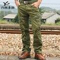 Promoción hombres Militares hombre poco ortodoxo vintage washed algodón pantalones multi del bolsillo pantalones casuales herramienta macho pantalones envío gratis