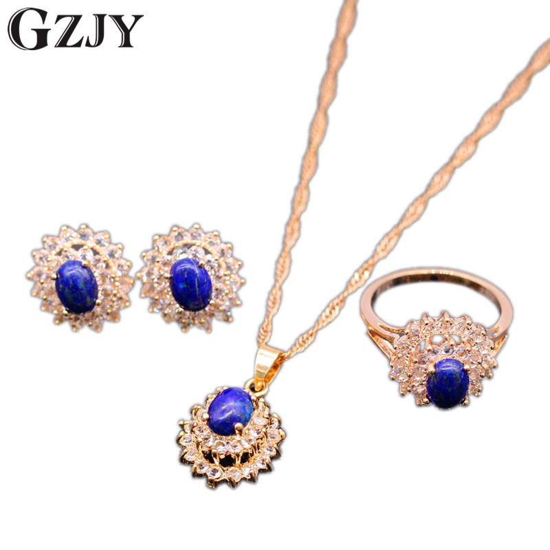 GZJY Fashion Party Jewelry Set Rose Gold Color Lapis lazuli Zirconia Pendant Necklace Earrings Ring Set For Women