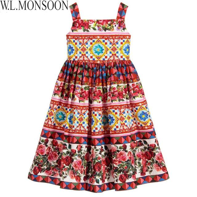 W.L.MONSOON Princess Dress Vestido Infantil 2017 Summer Girls Party Dress Children 'Corretto Con Rose' Dresses Kids Clothes