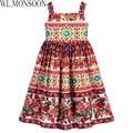 W. l. monsoon vestido de princesa vestido infantil verão 2017 meninas vestido de festa crianças 'corretto rose' con vestidos crianças roupas