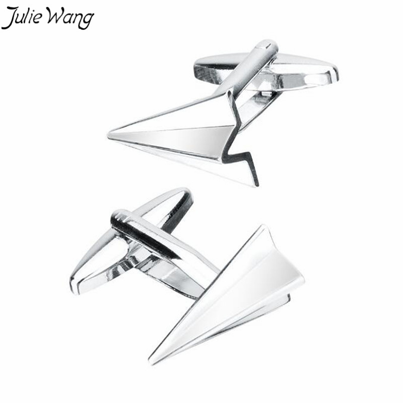 Julie Wang 1pair Metal Color Brass Base Special Paper Airplane Men's Cufflinks French Shirt Cuff Links Formal Jewelry Accessory image