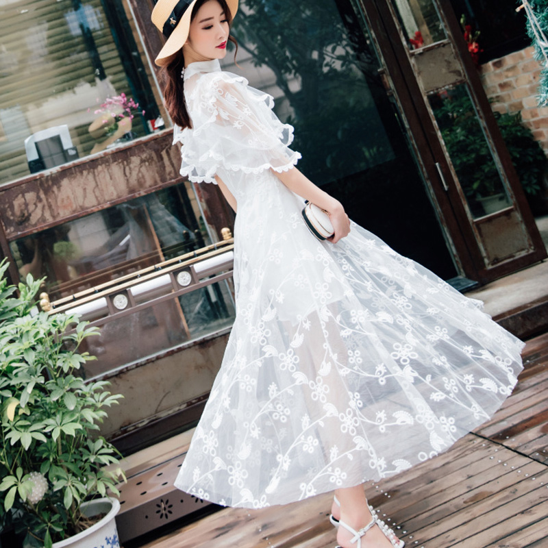 2018 women high end new fashion designer elegant vestidos bodycon beach party white long casual runway summer lace sexy dress