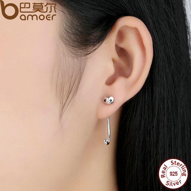Sterling Silver Long Drop Cat Animal Earrings