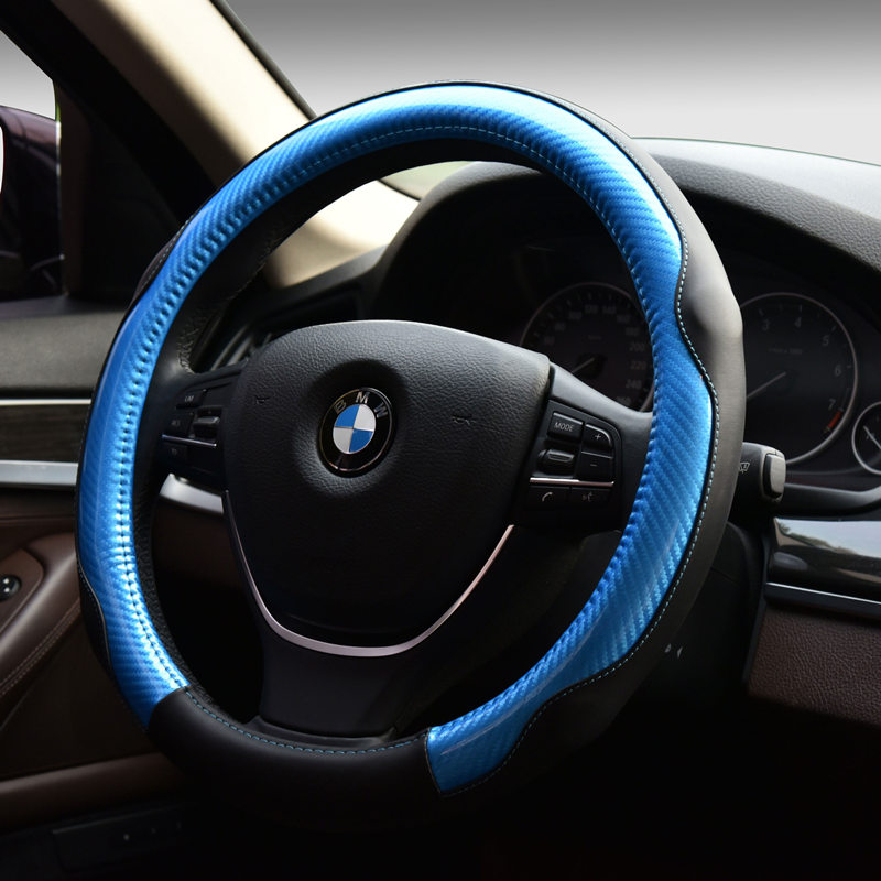 New DIY Car Racing Soft 38 CM Steering Wheel Covers Carbon