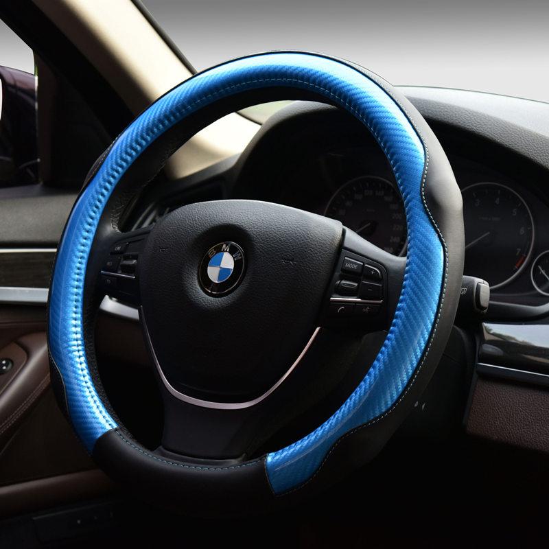 Nova DIY Car Racing Macio 38 CM Volante Cobre Decoração Interior De fibra  de Carbono de couro Genuíno couro Genuíno do Esporte Tampa ce007e2e03