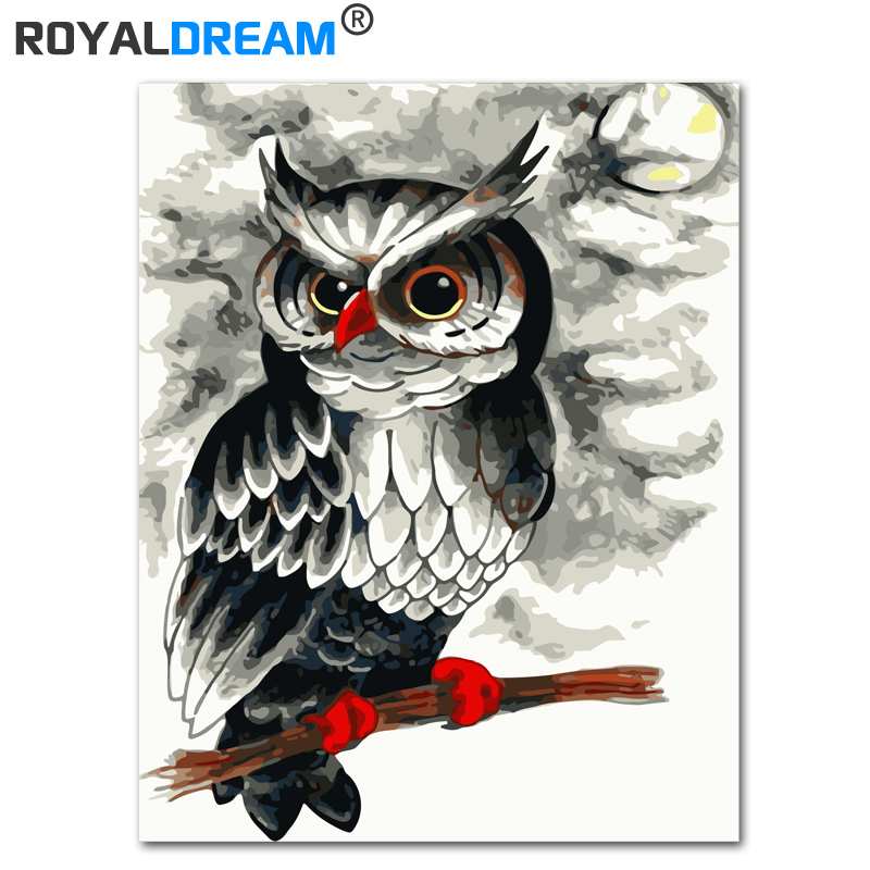 ROYALDREAM Moonlight Owl DIY Painting By Numbers Kits Coloring Paint By Numbers Modern Wall Art Picture Gift