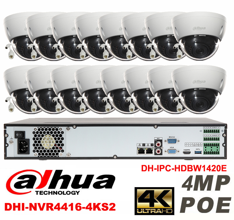 Dahua original 16CH 4MP H2.64 DH-IPC-HDBW1420E 16pcs CCTV Network camera POE DAHUA DHI-NVR4416-4KS2 Dome IP security camera kit cambridge young learners english flyers 5 answer booklet